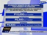 CHED's grants-in-aid program provides scholarships for indigent students