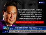 Corona maintains innocence, says Palace behind 'sham' impeachment trial