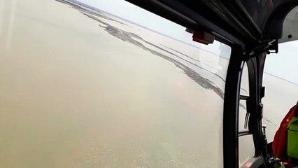 Survol de l'île Madame par Dragon 17 l'hélicoptère de la sécurité civile
