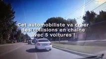 Cet automobiliste va créer des collisions en chaîne avec 5 voitures !