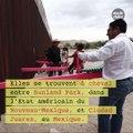 Des balançoires roses sur le mur de la frontière américano-mexicaine