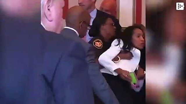 Ex judge Tracie Hunter is being dragged out of court after being sentenced to six months in prison