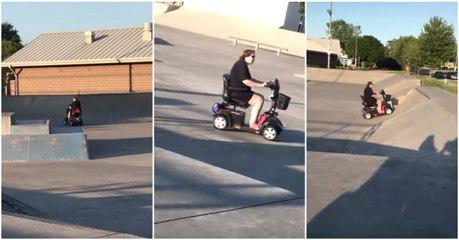 Ideia (pouco) brilhante: Andar com uma scooter de mobilidade num parque radical