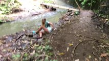 Girl Trying to Swing on Tree Vine Falls into Creek After It Snaps