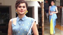 Taapsee Pannu looks pretty in stylish printed saree on Mission Mangal promotion | Boldsky