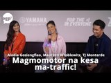 TJ Monterde, Maureen Wroblewitz, Alodia Gosiengfiao plan to commute around the city on motorcycles