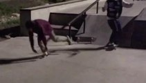 Skateboarder Gets Hit in Crotch While Grinding on Rail