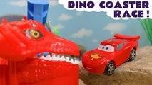 Hot Wheels Dinosaur Coaster Race with Disney Pixar Cars 3 Lightning McQueen and Marvel Avengers 4 & DC Comics Superheroes with Spongebob and PJ Masks