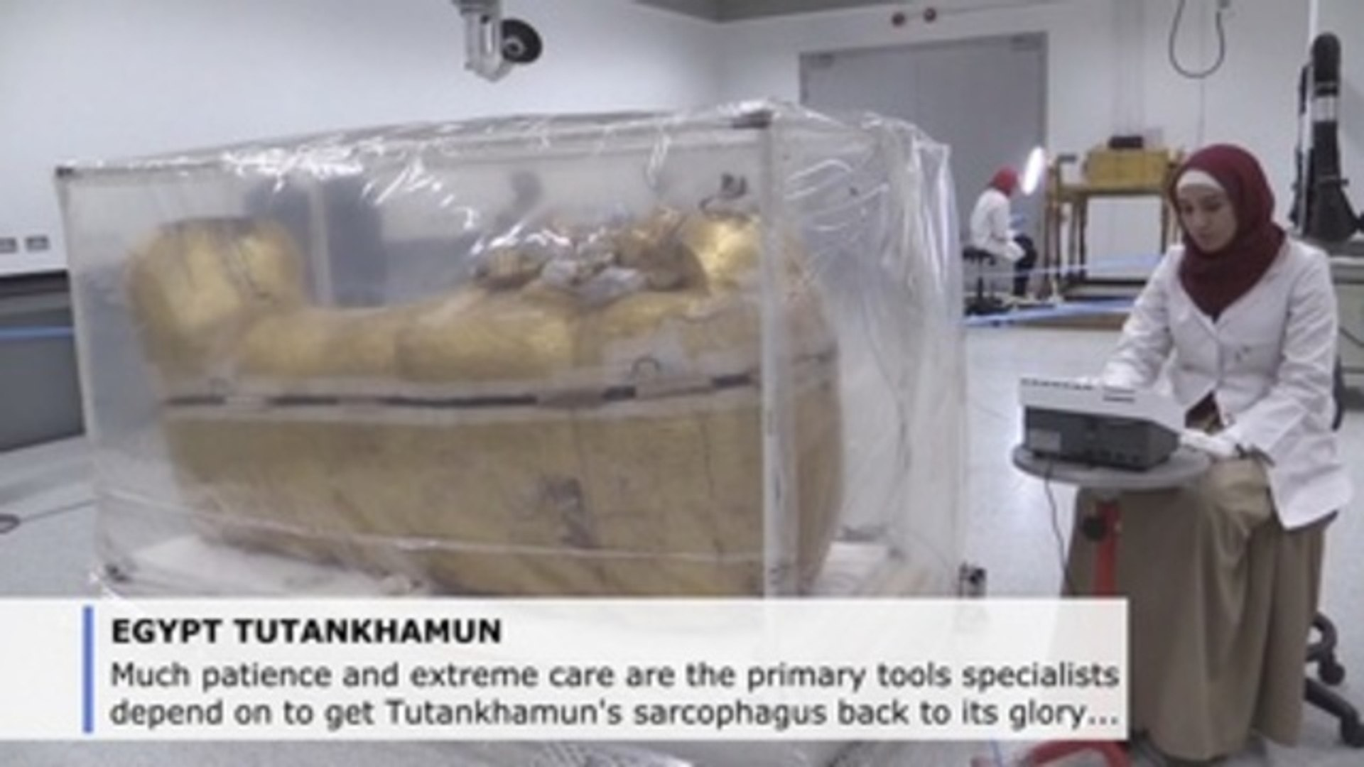 Care, patience to get Tutankhamun's coffin back to its former glory (C)