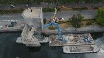 De nouvelles images de la déconstruction du pont des Trous, filmées par un drone