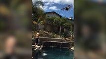 Dangerous dive into swimming pool