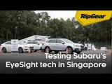 Testing Subarus on a rainy test course