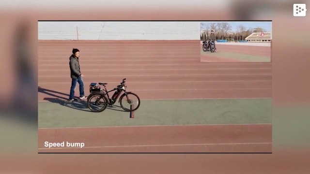 An unmanned bicycle that follows orders by voice and dodges obstacles