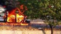 Oksijen tüpü patladı, ambulans alev alev yandı