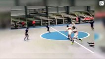 A 'ghost' breaks into a women's futsal match and players cannot snatch the ball