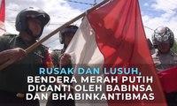 Rusak dan Lusuh, Bendera Merah Putih diganti oleh Babinsa dan Bhabinkantibmas