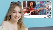 Sabrina Carpenter Watches Fan Covers on YouTube