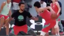 Steph Curry Gets CROSSED & Dunked On By A 7ft High School Kid!