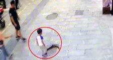 Kırık rögar kapağına basan küçük çocuk, kanalizasyona düştü
