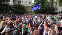 Now anti-Brexit protesters descend on Abbey Road for Beatles album photo's 50th anniversary