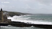 Wind and waves batter Cornwall as severe weather warnings issued