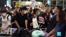 Hong Kong Protest France 24 reporter Daniel Quinlan at international airport