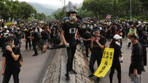 Protesters march without police permission in Tai Po