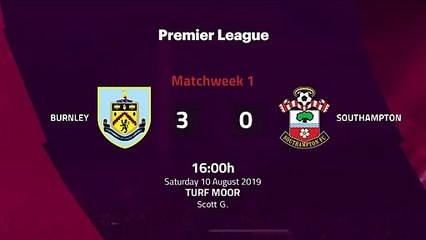 Match report between Burnley and Southampton Round 1 Premier League