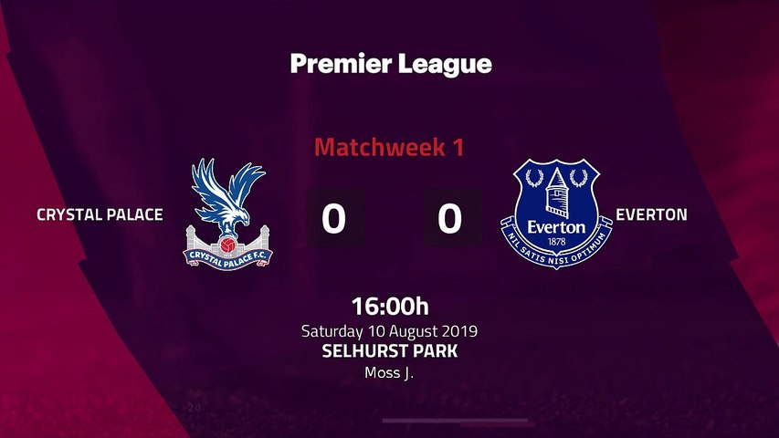 Match report between Crystal Palace and Everton Round 1 Premier League