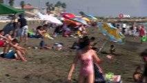 Samandağ sahilinde bayram yoğunluğu