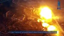 شاهد لحظة تفجير عربة مفخخة بتجمع لميليشيات أسد في تل سكيك بإدلب