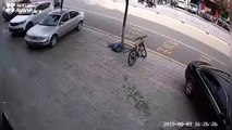 Chinese boy almost gets run over after riding segway on a road