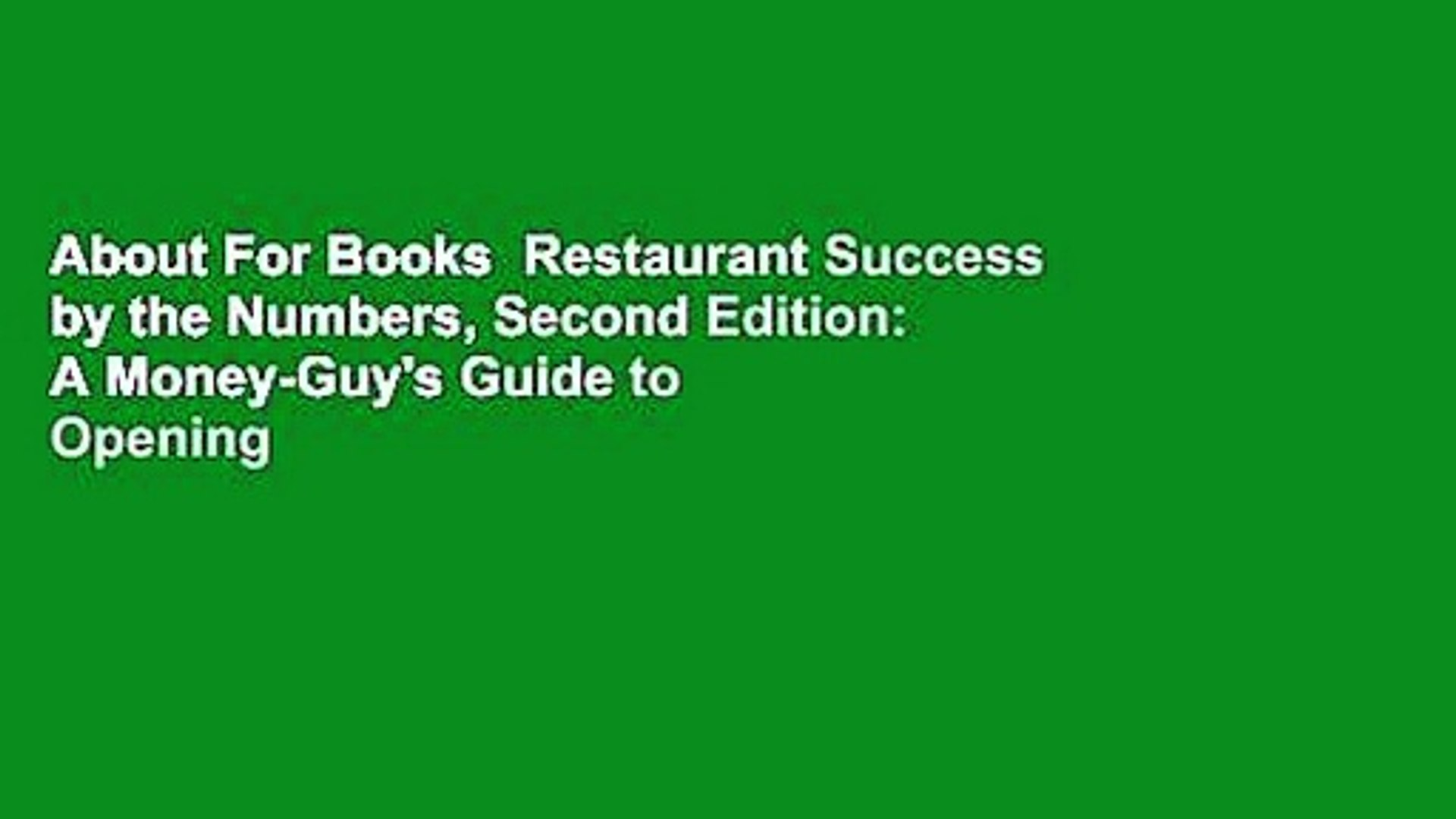About For Books Restaurant Success By The Numbers Second Edition A Money Guy S Guide To Opening