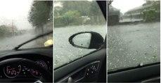 O desespero de um automobilista dentro do seu NOVO carro num dia de forte tempestade de granizo