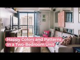 A Combination of Happy Colors and Patterns in a Two-Bedroom Unit