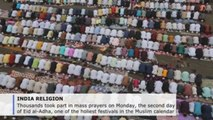 Indian Muslims gather for mass prayers on second day of Eid al-Adha