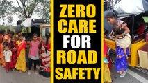 Cop halts Overloaded auto in Telangana, Video viral | Oneindia News