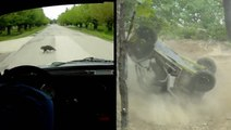 Rally Driver Encounters Unexpected Obstacle & A Rocky Rollover