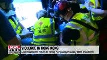 Hong Kong flights resume, but protestors return to airport