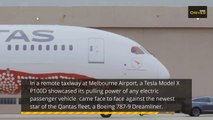Watch a Tesla tow a Boeing 787 Dreamliner and break a Guinness World Record!