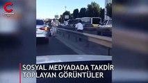 Akan trafiğe aldırış etmedi, hayatını tehlikeye attı! Sosyal medyada gündem oldu