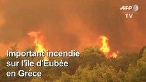Grèce : important incendie sur l'île d'Eubée, 500 habitants évacués
