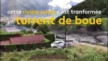 Suisse: quand une rivière se transforme en torrent de boue
