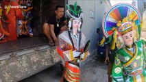 A creepy village specializes in producing paper effigies for the dead
