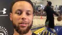 Steph Curry Hits INSANE One-Handed Half Court Shot, Says People Stupid To Think Dubs Reign Is Over!
