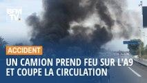 Un camion prend feu sur l'A9, près de Montpellier, et perturbe gravement la circulation