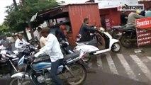 Long que of bikers outside petrol pump in Kolhpur