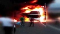 TEM'de seyir halindeki otobüs alev alev yanarak böyle küle döndü