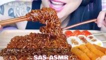 ASMR FIRE NOODLES + SPICY BLACKBEAN NOODLES (SOFT STICKY EATING SOUNDS) NO TALKI