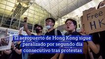 El aeropuerto de Hong Kong sigue paralizado por segundo día consecutivo tras protestas